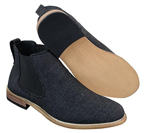Slip Design On Dealer Boots Herrenstiefel Chelsea Schwarz Optik Denim 08d85wqY