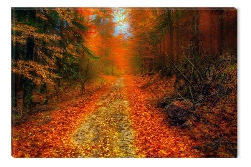 Colori caldi Int Startonight The Woods-Tela artistica da parete, 60 X 90 Cm, colore: rosso, (Autumn Leaves Framed)