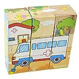 1 Pack Bambini Giocattoli di legno per i bambini Puzzle Giocattoli di legno Learning Giocattoli educativi 3D Puzzle Cartoon Story 6 lati animali di legno Puzzle Consiglio (Vehicle)