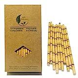 Lot de 100pailles en papier bambou jaune pour remplacer les pailles en plastique, bambou écologique, 100% organique
