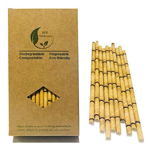 Pajitas de papel de bambú amarillo para reemplazar pajitas de plástico, 100 unidades, 100% orgánicas, respetuosas con el medio ambiente, pajitas de bambú