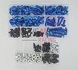 LoveMoto Kompletter Motorrad-Schraubensatz für die Verkleidung CBR 125 R 02 03 04 05 06 CBR125R 2002 2003 2004 2005 2006 Alu-Schrauben Befestigungsklammern Blau Silber