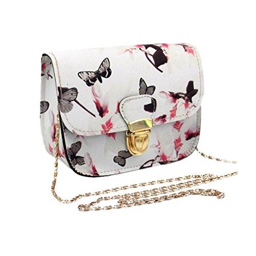 La stampa del fiore di farfalla delle donne della borsa a tracolla Borsa del messaggero,Fami (bianca)