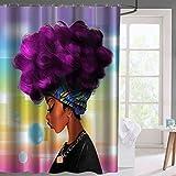 Maofacegirl Lila Haar Badezimmer Dusche Vorhänge Mädchen Aquarell Porträt Bild Drucken Wasserdicht Mehltau Resistant Stoff Vorhänge.