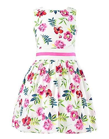 Garsumiss Damen Blumenkleid Beachwear Strandkleid Blumen Dekor Tüll Rockteil Ärmellos Beachwear (Chihuahua Badeanzug)
