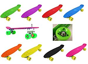 """Vinsani Retro Cruiser Plastic Skateboard 22"""" X 6"""" Available In Various Transparent or Solid Coloured Wheels."""