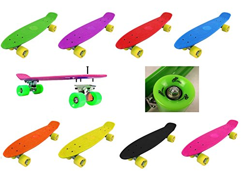 Retro-Cruiser-Plastic-Skateboard-22-X-6-Available-In-Various-Deck-Colours-And-Transparent-Wheel-Colours