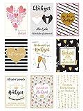 Edition Seidel Set 9 hochwertige Designer Premium Hochzeitskarten mit Briefumschlägen. Glückwunschkarte zur Hochzeit. Geschenk Geld Geldgeschenk (Doppelkarten/Klappkarten mit Briefumschlag) (Set 2)