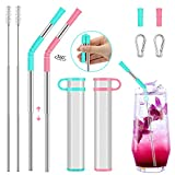 2 Pack Collapsible Telescopic Straw Folding Reusable Portable Straws,Stainless Steel Eco Drinking Straw Metal Straws with Case Keychain Food Grade Silicone Tips for Travel,Office,Outdoors, Party