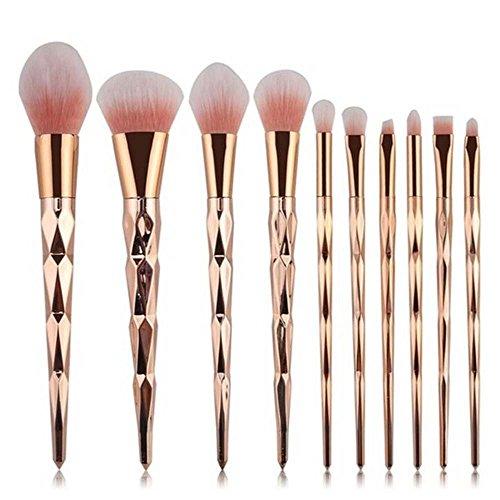 Coshine 10pcs Licorne Shiny Or Pinceau De Maquillage Pinceau Blush Poudre Crème Fondation Professionnels Nécessaires