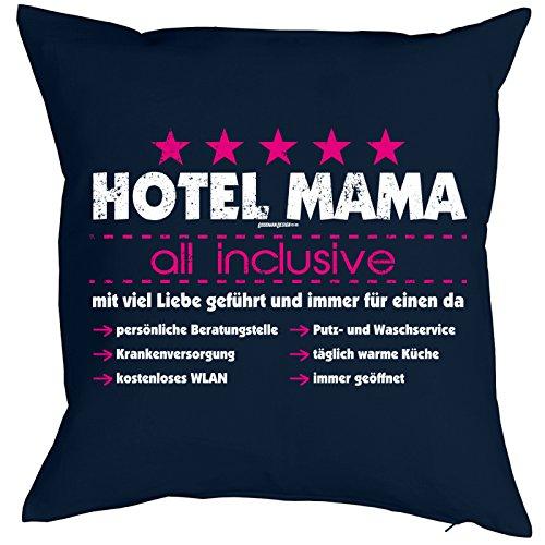 Goodman Design ® Danke Sagen Print - Bezug für Kissen 40 x 40cm - Hotel Mama - All Inclusive - viel Liebe 100% Baumwolle - Geschenkidee Mütter Tag Sohn Mutter - Print Kissenhülle in dunkelblau :- -