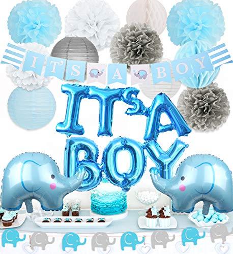 Jollyboom Elefant Baby Shower Dekorationen Boy Elephant Folienballons Girlande Banner Baby Elephant Es ist EIN Boy Banner für Baby Boy Shower Dekorationen Set (Elefant Dekorationen Baby-dusche)