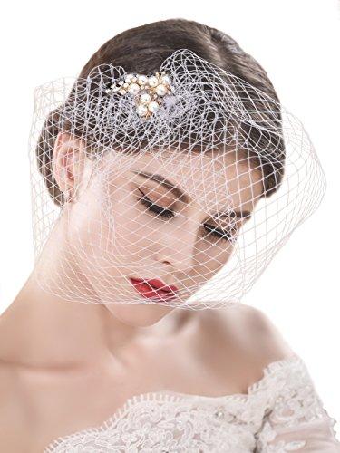handcess Hochzeit bridcage Schleier mit Strass Verzierungen Kamm Floral Fascinator Netz Kurz Rouge Schleier für Brides