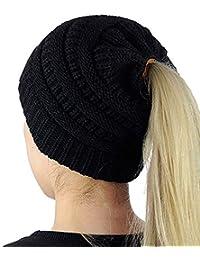 97d9bbc4007 Uworth Tricot Bonnet Queue de Cheval Femme Fille Beanie Bonnet avec Trou