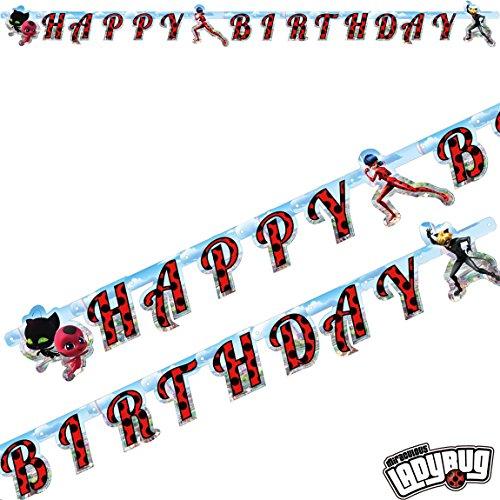 kette * MIRACULOUS * als Deko für eine Mottoparty oder Kindergeburtstag // von Amscan // Ladybug Marienkäfer Superheld Party Geburtstag Girlande Banner ()
