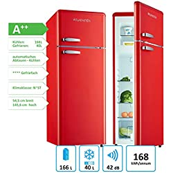 Wolkenstein GK212.4RT Réfrigérateur/congélateur rétro brillant rouge, A++, 206l, réfrigérateur combiné au design nostalgique