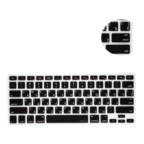 MiNGFi Russisch Tastatur Silikon Schutz Abdeckung für MacBook Pro 13, 15, 17 Air 13 Zoll US Keyboard Layout Silicone Cover - Schwarz