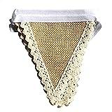 Hacoly 1.6M Dentelle Vintage Tissu Banderole Banderole Hesse Jaguar Drapeaux Guirlande Tribales Triangle Drapeaux pour la Décoration De La Salle De Fête D'anniversaire De Mariage - 8 Drapeaux