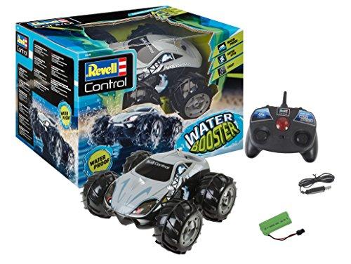 Revell Control 24635 RC Stunt Car Water Booster, 2.4GHz, 4WD Allrad, fährt auch auf dem Wasser, coole Spins auf der Stelle, mit Akku, ferngesteuertes Auto, Silbergrau, Länge: ca. 19 cm