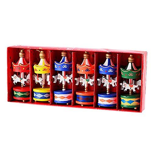 UU19EE Frohe Weihnachts-Holz-Karussell Pferde Schmuck Mini schöne hölzerne Xmas kindergeschenk Spielzeug Neujahrs Weihnachtsgeschenke Pendant