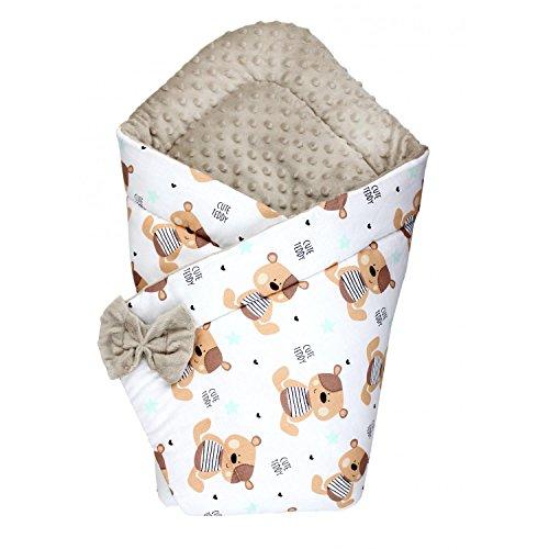 TupTam Baby Winter Einschlagdecke Warm Wattiert Minky, Farbe: Teddybärchen Beige, Größe: ca. 75 x 75 cm