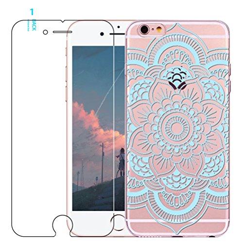 Coque iPhone 5/5S/SE avec film protecteur d'écran en verre trempé, Blossom01Ultra mince Soft Gel coloré Mandala Motif fleur TPU Coque de protection en silicone avec motif de henné pour iPhone SE/5/5S #04