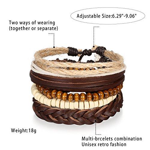 5 Stück Herren Armband Leder Armband Armbänder Schmuck Set braun weiss , Vintage Breite Geflochten Lederarmband Surferarmband Armreifen , verstellbar - 3