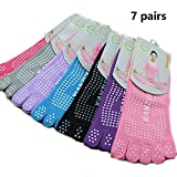 YNXing 7 Anti-Slip Voll Zehen Pilates Yoga Socken Dispenser Anti-Slip Yoga Fünf Finger Socken Perfekt für Yoga / Pilates / Fitness / Tanz, etc.