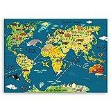 ge Bildet® hochwertiges Leinwandbild XXL - Weltkarte für Kinder - Dunkelblau - Bild für kinderzimmer - 100 x 70 cm einteilig 2202 L