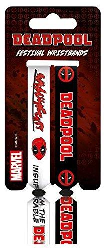 Deadpool Festival 2 tessuto braccialetti bianco nero bracciali Marvel ufficiale