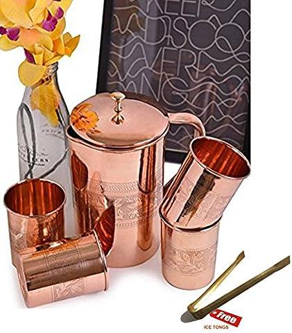 Prisha Inde Craft ® Best verseuse en cuivre pur de qualité ( Handmade verseuse 1600 ML / 54.10 oz ) avec quatre verre Ensemble de cruche et Drinkware verre - Cuivre verseuse Glass Set - Tumbler Set - Cadeau de Noël