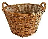 Gartenkorb Pflanzkorb braun Weide rund Gartendeko Pflanzschale Präsentkorb Weidenkorb