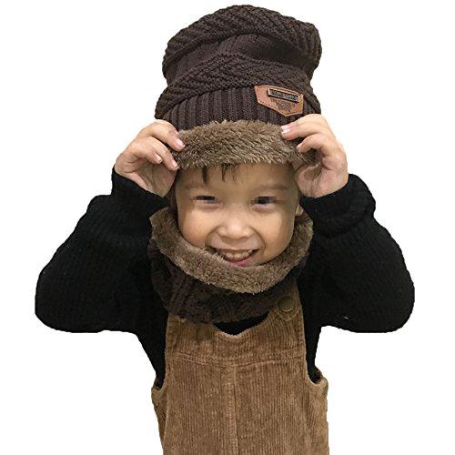 Fleece Herren-infinity-schal (iKulilky Kinder Winter Mütze Schal Set Jungen Mädchen Slouchy Beanie Winddicht Warm Knit Ski Hüte Infinity Schlauchschal Dicke Slouchy Skull Cap mit Fleece-Futter)