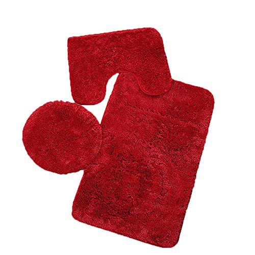 Fatchot 3-teiliges Badezimmer-Set, Teppich mit Konturmatte, WC-Deckelbezug, einfarbig, einfarbig, Flanell, rot, 19