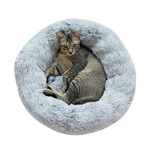 Chien Chat Lit, Panier de Chat Rond en Peluche pour Animal Domestique Nest Deep Sleep Pet Matelas, Lavable en Peluche,Gris foncé, 60 cm