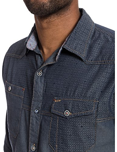 Timezone - 27-0152, Camicia da uomo Multicolore (blue printed oxford 3810)