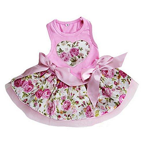 Ameda Valentine 's Day Light Pink Rose Herz Pets Party Kleid, L, Rose