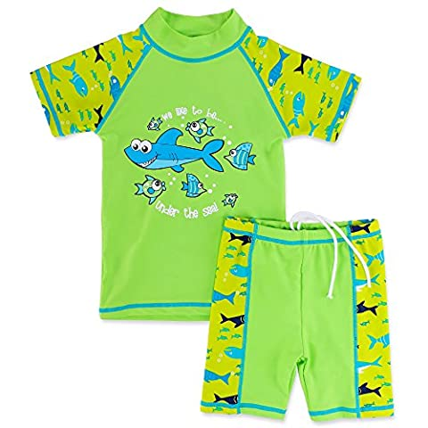 HUANQIUE Boys 3-12 Years Two Piece 50+UV Swimsuit Costume 7-8Y