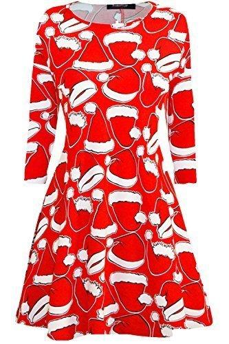 Kostüme Kinder Star Uk (Fashion Star Damen Glockiges Kleid - Santa Hut Rot, M/L (UK)