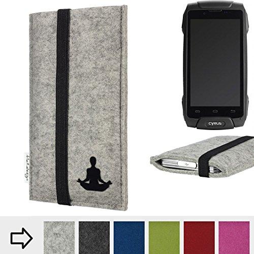 flat.design Handy Hülle Coimbra für Cyrus CS 30 - Yoga Asana Lotussitz Tasche Case Filz Made in Germany hellgrau schwarz