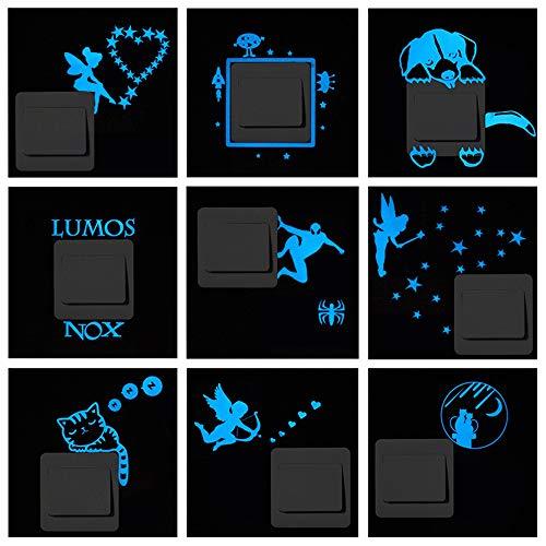 ufengke Luminoso Rayo Azul Pegatinas de Interruptor Brillar en La Oscuridad Extraíble...