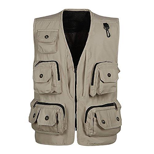 Herren Weste Multi-Tasche Professionelle Arbeitskleidung für Fotografie, Outdoor, Angeln Cremefarbig
