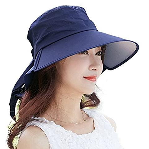 Siggi Ladies Summer Bill Neck Flap Cover Hat UPF 50+ Cotton Sun Cap with Wide Brim Packable for Women Navy