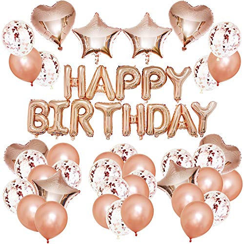 Kodior Geburtstag Dekoration - Birthday Decorations Deko Ballons Latex Happy Birthday Banner Rosegold Luftballon Folienballons Geburtstag, Brautdusche, Party Dekoration, Valentinstag (Rosa) (Birthday Happy Ballons Latex)