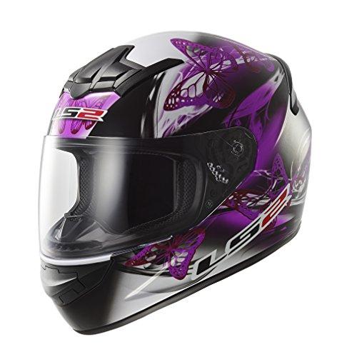 LS2 - mod. FF351 FF352 - Casco integrale per moto, da donna, motivo: disegno ondulato, di colore rosa e viola X-Large Nero