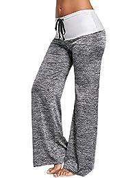 GUOCU Mujer Pantalones Anchos Casual Talle Alto Pantalón Yoga Jogging  Deportivos de Pierna Largo Cintura Media 2d939b345e1f