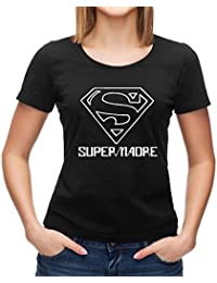 Regalo Original para Madres: Camiseta SuperMadre (Negro, XL)