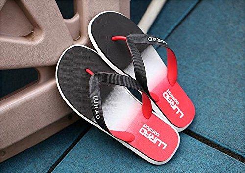 ALUK- Sandales d'été - Hommes Pieds Wear Wear Trend Simple Beach Cool Chaussons ( Couleur : Rouge , taille : 44 ) Rouge