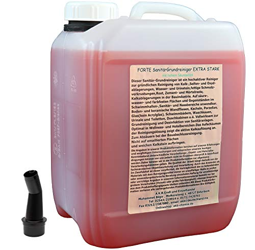 A.K.B. FORTE SanitärGrundreiniger EXTRA STARK, 5185,(5 L + Ausgiesser) Sanitärreiniger, Grundreiniger, Badreiniger