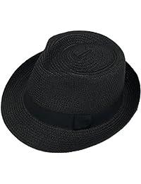 Demarkt Jazzhut Sonnenhut Strohhut Sommerhut Strandhut für Junge Kappenumfang von etwa 48-54CM Beige